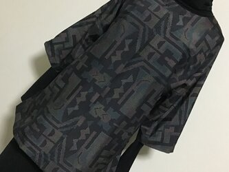 0101    着物リメイク    チュニック    七分袖    大島紬    抽象模様の画像