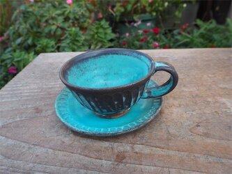 ブルー器 カップとソーサ[18Dec-14]《釉薬》の画像