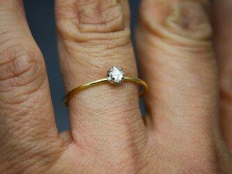 ラフダイヤモンド(ダイヤモンド原石)K18YG-Pt900の細い指環 0.21ctの画像