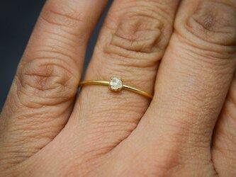 ラフダイヤモンド(ダイヤモンド原石)K18YGの細い指環 0.12ctの画像