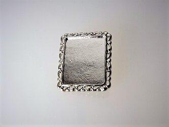 【ブローチ】四角・枠飾り(シルバー)の画像