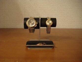 バレンタインデーに 左男性用、右女性用トレイ付きブラック腕時計スタンド No.130226の画像
