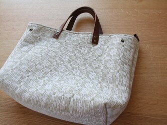 北欧手織りトートバッグ(ベージュグレー)の画像