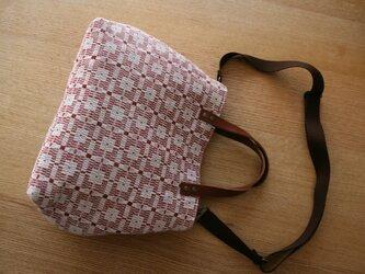 北欧手織りトートバッグ(赤)の画像