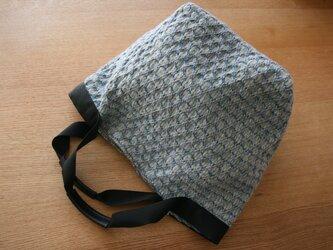 北欧手織りウールトートバッグ(ブルー)の画像