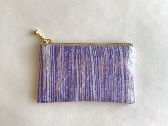 絹手染ミニポーチ(縦・渋紫/サーモンピンク)の画像