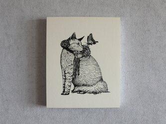 イラストパネル(猫と花飾り)の画像