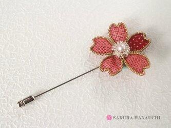 桜のピンブローチ 大島紬朱 9004の画像