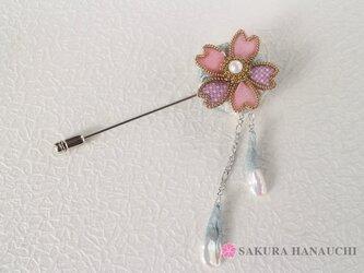 桜のピンブローチパールの花びら付き 大島紬ピンク 9007の画像