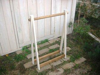 小さなハンガーラック/高さ95cm【折りたたみ式・ツートン】の画像