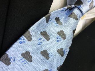 雲小紋柄天気ネクタイ オリジナルシルク/くもり/サックスブルー/水色の画像