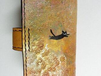 飛び猫黒猫★革キーケース4連の画像
