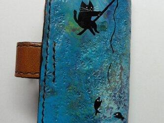 釣り 黒猫★革キーケース4連の画像