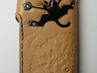 花火 黒猫★革キーケース4連の画像