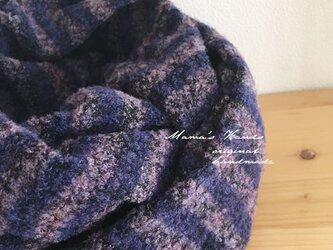 紫 柔らかウール ボーダー 良品質 スヌード♪の画像