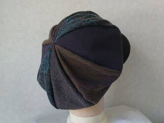 魅せる帽子☆ふんわり♪ウールのグラデーションキャスケット~ダークブラウン&バイオレットの画像