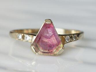 K10製 趣味のトルマリンとダイヤモンドのリングの画像
