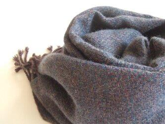 手織りカシミアストール・・渋茄子紺の画像