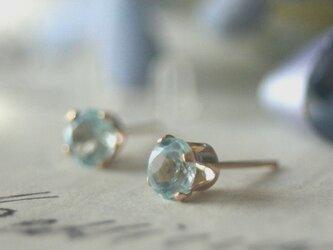 トパーズ5mm大粒 14kgf 宝石質 天然石 ピアス 片耳 クリスマス プレゼント ビジュー 結婚式 ウエディングの画像