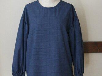 【sale】ボリューム袖のブラウス ブルー グレンチェック(M)の画像