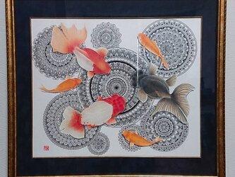 必見 最新作 原画 肉筆 一点もの ボールペンアート 額装付き 百貨店作家 人気 ボールペン画 絵画 金魚 金魚の絵の画像