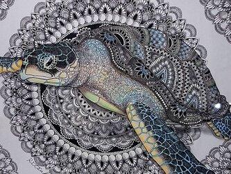 原画 肉筆 一点もの ボールペンアート 額装付き 百貨店作家 人気 ボールペン画 絵画 海亀 海ガメ 亀の絵 カメ 開運の画像