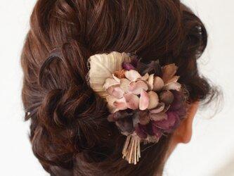 染め花・枯れた紫陽花のヘアクリップ付コサージュの画像