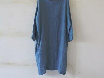 ドルマンスリーブワンピース*lithuanian linen ブルーグリーン 【受注生産品】の画像