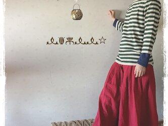タック&ギャザースカート(赤)の画像