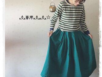 タック&ギャザースカート(ブルーグリーン)の画像