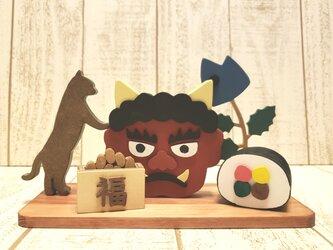 赤鬼☆猫と節分の置物☆豆まき☆恵方巻き☆柊鰯☆動物の変更も色変更も可能!の画像
