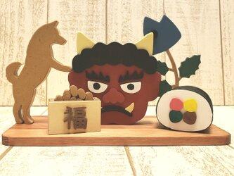 赤鬼☆柴犬と節分の置物☆豆まき☆恵方巻き☆柊鰯☆動物の変更も色変更も可能!の画像