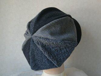 魅せる帽子☆ふんわり♪ウールのグラデーションキャスケット~グレーの画像