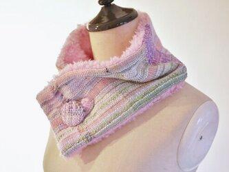 手織り もこもこファーネックウォーマーの画像