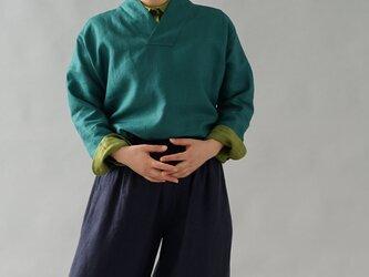 【wafu】中厚 リネントップス 禅 着物襟 ドルマンスリーブ ブラウス/エンパイアグリーン t010b-egn2の画像