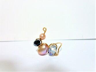 1点ものブラウン本真珠淡水パール&カットガラスデザインワイヤーフリーリングの画像