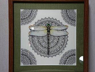 原画 肉筆 一点もの ボールペンアート 額装付き 百貨店作家 人気 ボールペン画 絵 オニヤンマ トンボ 蜻蛉の画像