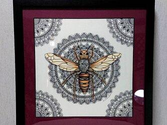 原画 肉筆 一点もの ボールペンアート 額装付き 百貨店作家 人気 ボールペン画 絵 オオスズメバチ ススメバチ 蜂 ハチの画像
