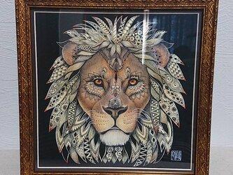 原画 肉筆 一点もの ボールペンアート 額装付き 百貨店作家 人気 ボールペン画 絵画 ライオン ライオンの絵 百獣の王の画像