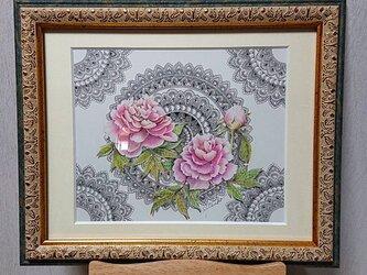 原画 肉筆 一点もの ボールペンアート 額装付き 百貨店作家 人気 ボールペン画 絵画 牡丹 牡丹の花 牡丹の絵の画像