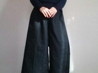 ワイドパンツ炭黒綿麻混カーキ色のポケット春物ウエストゴムの画像