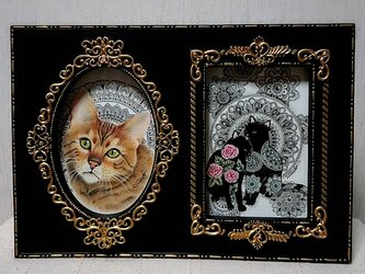 原画 肉筆 一点もの ボールペンアート 額装付き 百貨店作家 人気 ボールペン画 絵画 猫 ねこ ネコ 仔猫 子猫の画像