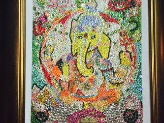 【売約済み】ガネーシャ神 スワロフスキー絵画layer of  dimension25の画像