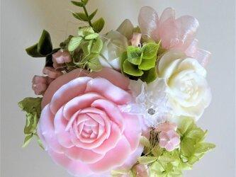 石鹸彫刻 桜色の薔薇(ケース入り)の画像