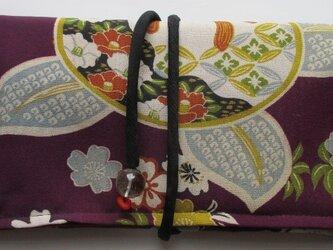 送料無料 花柄の着物で作った和風財布・ポーチ 4012の画像