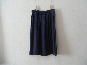 リネンのペチコート 濃紺の画像