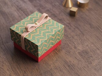 グリーン) 古民紙 数量限定 Holiday Box 革リボン付 小さな ギフトボックスの画像