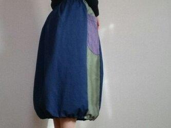 春ブルーバルーンスカート大きな丸底ポケット付きウエストゴムの画像