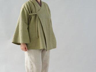 【wafu】中厚 リネン 作務衣 和装 ラグラン ベルスリーブ 男女兼用/柳染(やなぎぞめ) h037a-ign2の画像