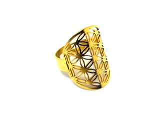 フラワーオブライフ リング/指輪(ステンレス金色)の画像